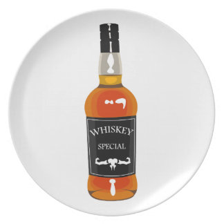 Whiskey Bottle Drawing Isolated On White Backgroun Plate