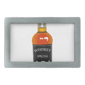 Whiskey Bottle Drawing Isolated On White Backgroun Rectangular Belt Buckle