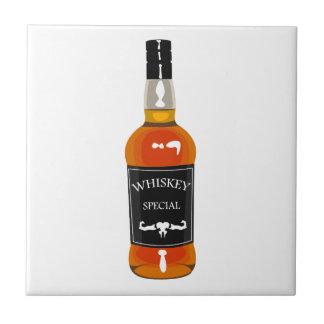 Whiskey Bottle Drawing Isolated On White Backgroun Tile