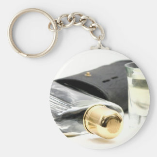 Whiskey Flask and Shot Glasses Keychain
