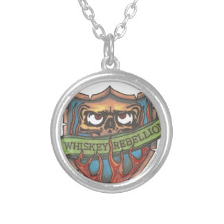 whiskey rebellion logo silver plated necklace
