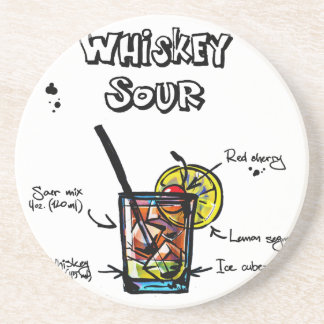 Whiskey Sour Cocktail  Recipe Beverage Coasters