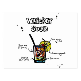 Whiskey Sour Cocktail  Recipe Postcard