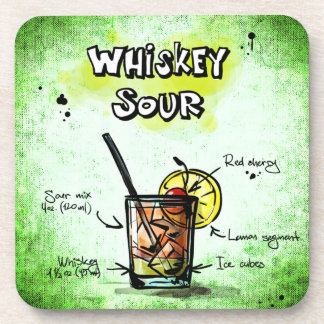 Whiskey Sour Drink Recipe Beverage Coaster