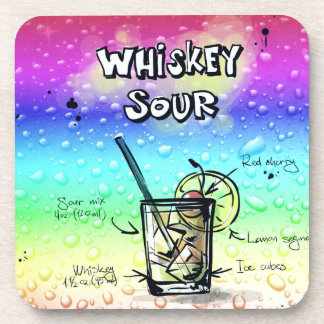 Whiskey Sour Drink Recipe Drink Coaster