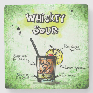 Whiskey Sour Drink Recipe Stone Beverage Coaster