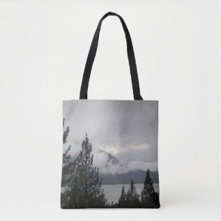 Whiskeytown Lake with the misting  fog... Tote Bag