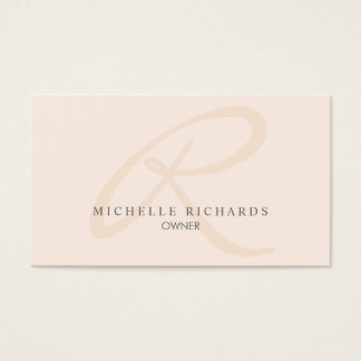 Whisper Pink Elegant Minimalist Monogram Business Card