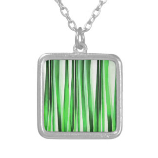 Whispering Green Grass Silver Plated Necklace
