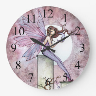 Whispering Moon Fairy Fantasy Art Clock