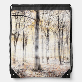 Whispering woodland in autumn fall drawstring bag