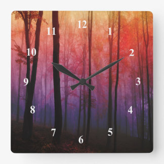 Whispering Woods Trees Forest Landscape Art Wall Clock