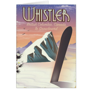Whistler British Columbia snowboarding poster Card