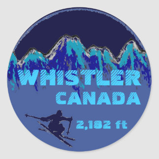 Whistler Canada blue ski art stickers