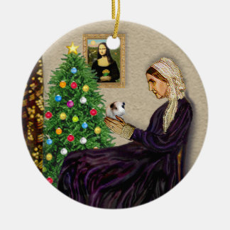Whistlers Mother & her Guinea Pig Round Ceramic Ornament