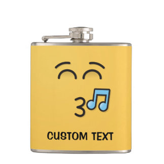 Whistling Face with Smiling Eyes Hip Flask