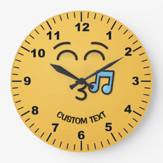 Whistling Face with Smiling Eyes Large Clock