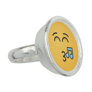 Whistling Face with Smiling Eyes Photo Rings