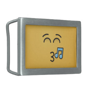 Whistling Face with Smiling Eyes Rectangular Belt Buckle