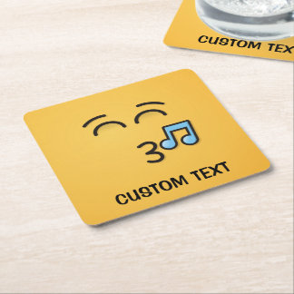 Whistling Face with Smiling Eyes Square Paper Coaster