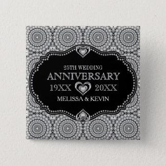 Whit Diamonds Glitter 25th Wedding Anniversary 2 Inch Square Button