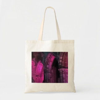 Whitby Abbey at night magenta Gothic arches goth