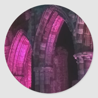Whitby Abbey at night magenta Gothic arches goth Classic Round Sticker