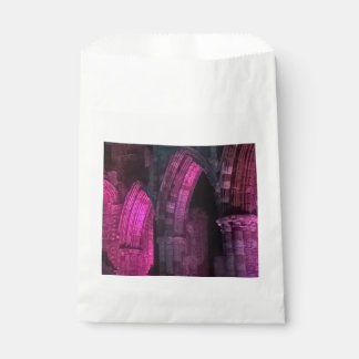 Whitby Abbey at night magenta Gothic arches goth Favour Bag