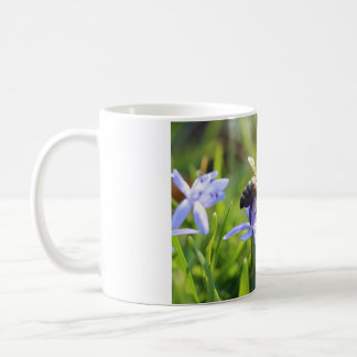 White 11 oz Classic White Mug - Bee Purple Flower