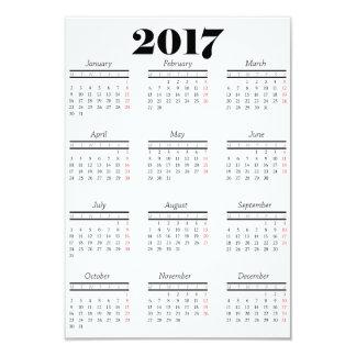 White 2017 Calendar Card