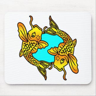 White 2 Traditional Koi Fish Tattoo Mouse Pad