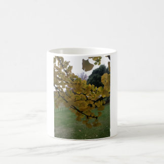 White 325 ml  Classic White Mug. Ginkgo Leaves. Coffee Mug