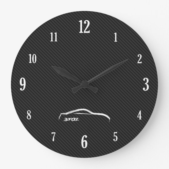 White 350Z Brushstroke Logo Wall Clock