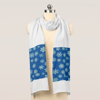 White 3-d snowflakes on a cobalt blue background scarf