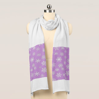 White 3-d snowflakes on a lilac background scarf