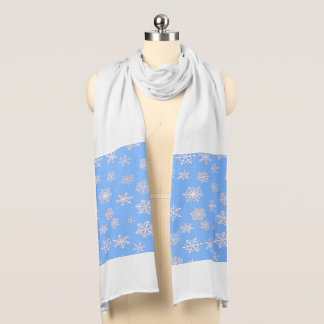 White 3-d snowflakes on an ice blue background scarf