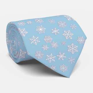 White 3-d snowflakes on an ice blue background tie