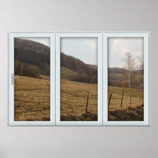 White 3 Pane Window Illusion Country Autumn Poster