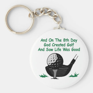 White 8Th Day Created Golf Keychain