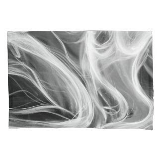 white abstract smoke swirl pillowcase