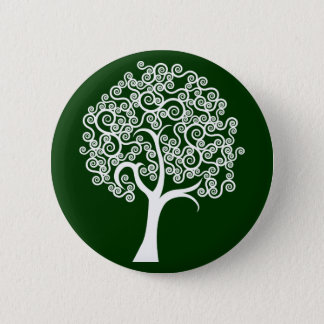 White Abstract Tree 2 Inch Round Button
