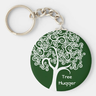 White Abstract Tree Key Chain