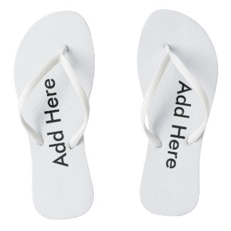 White add your thoughts Adult, Slim Straps Flip Flops