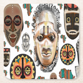 White African mask pattern Square Paper Coaster