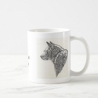 White Akita Inu Sketch Ceramic Mug