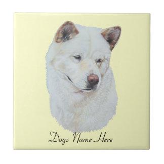 White akita realist dog portrait art design tile