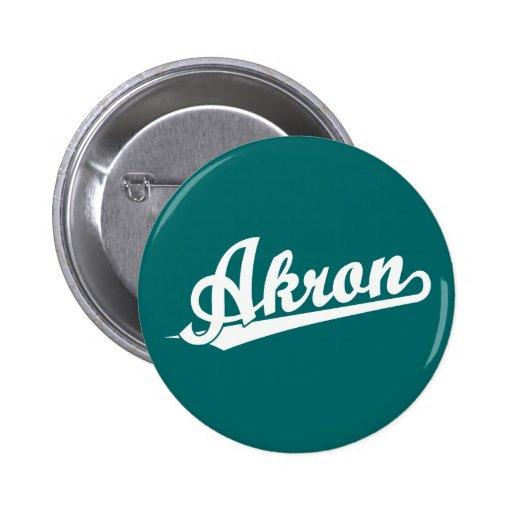 White Akron Script Logo Pin