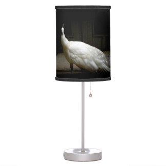 White Albino Peacock Table Lamp
