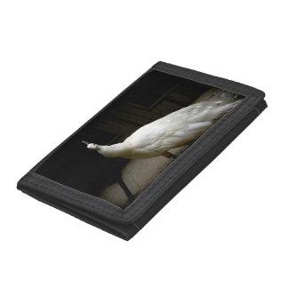 White Albino Peacock Trifold Wallet