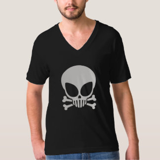 White Alien Skull Dark T-Shirt